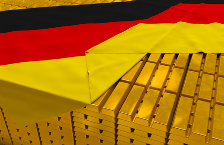 solvency: Germany gold reserve stock: golden bars (ingots) are covered with germanic flag in the storage (treasury) as symbol of national gold and foreign currency reserves, financial health, economic growth