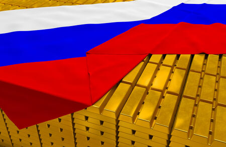reserves: Russia gold reserve stock: golden bars (ingots) are covered with russian flag in the storage (treasury) as symbol of national gold and foreign currency reserves, financial health, economic growth