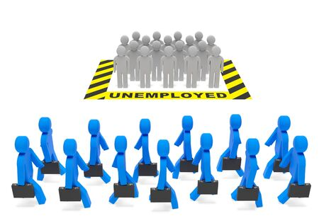 Unemployment (employment) job social policy concept. Unemployed population and occupied (employed) population (job holders, workers) as symbol of job market, economic climate, jobless rate 免版税图像