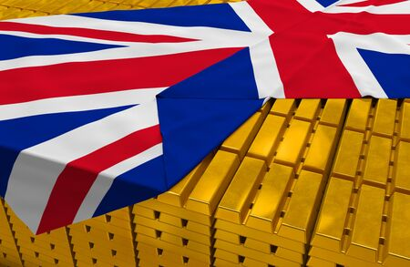 foreign national: Great Britain gold reserve stock (creative concept): golden bars (ingots, bullions) are covered with british flag in the storage (treasury) as symbol of national gold and foreign currency reserves (gold holdings), financial health (stability) of state, ec Stock Photo