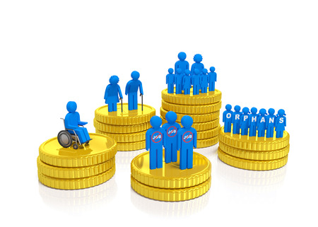 Social security welfare service concept. Unemployed, disabled people, the elderly, large family, orphans stand on gold coins as symbol of social policy, welfare recipients, government support and financing, disadvantaged population