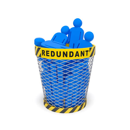 Downsizing redundancy staff optimization job cuts social concept. Dismissed employees as a result of redundancy, economic financial crisis or introduction of automatic machinery (automation industry) Stockfoto