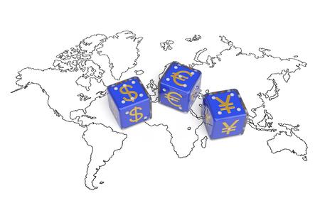 世界通貨金融経済政策概念。ドル、ユーロ、元ヘゲモニーおよび世界経済、貿易、銀行システム、資金の流れと世界の市場の制御の利点間の競争