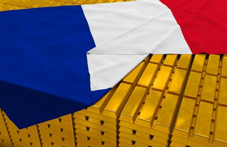 foreign national: France gold reserve stock (creative concept): golden bars (ingots, bullions) are covered with french flag in the storage (treasury) as symbol of national gold and foreign currency reserves (gold holdings), financial health (stability) of state, economic g