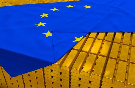 solvency: golden bars (ingots) are covered with eu flag