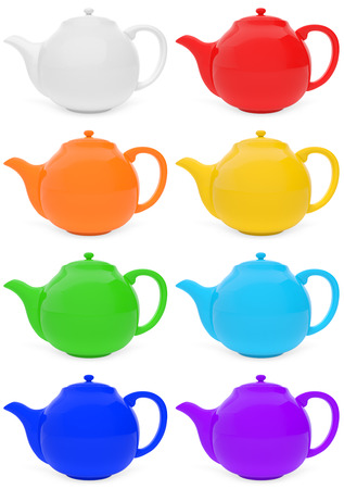 teapots: Set of colored teapots with reflections Stock Photo