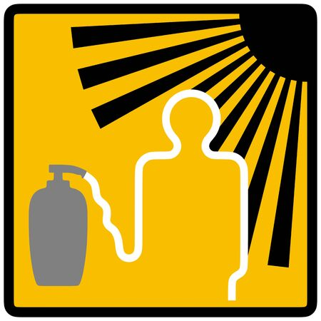 sunburn: Warning informative summer sign. Silhouettes of sun, sunscreen bottle with cream and person caution and inform of danger of solar activity, risk of sunburn or sunstroke and preventive security measure Stock Photo