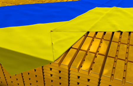 foreign national: Ukraine gold reserve stock: golden bars (ingots) are covered with ukrainian flag in the storage (treasury) as symbol of national gold and foreign currency reserves, financial health, economic growth Stock Photo