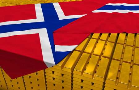 foreign national: Norway gold reserve stock: golden bars ingots are covered with norwegian flag in the storage treasury as symbol of national gold and foreign currency reserves financial health economic growth Stock Photo