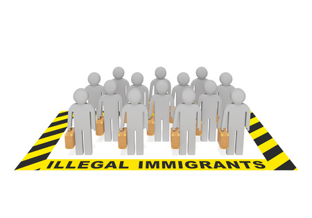 illegal immigrant: Illegal immigrants creative concept. People with suitcases in special warning zone as symbol of serious vexed problem breach of migration legislation illegal entry Stock Photo