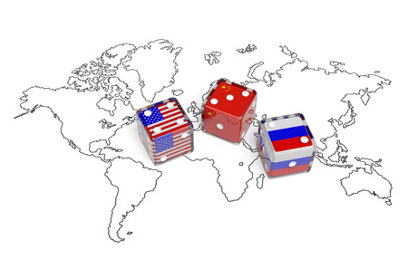 Negotiation political concept: dices with flags of USA Russia and China on the world map symbolize foreign affairs summit of countries state interests discussion on global issues
