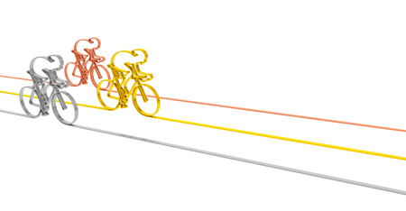 racing bicycle: Cycle race sport competition championship concept. Abstract gold silver and bronze bicycles racers as symbol of sporting competition and winning background template for illustrating bicycle racing