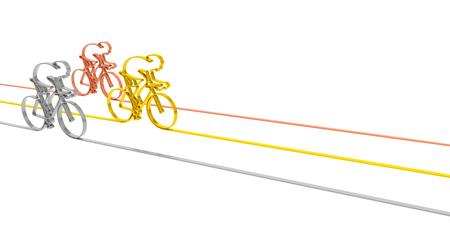 Wielerwedstrijd sport concurrentie kampioenschap concept. Abstracte goud zilver en brons fietsen racers als symbool van sportieve concurrentie en het winnen achtergrond sjabloon voor het illustreren van wielrennen Stockfoto