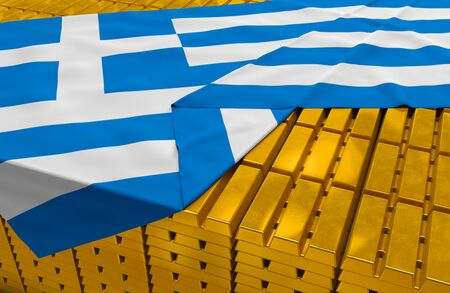 foreign national: Greece gold reserve stock: golden bars ingots are covered with greek flag in the storage treasury as symbol of national gold and foreign currency reserves financial health economic growth
