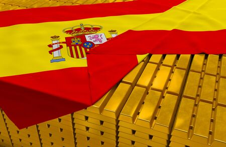 foreign national: Spain gold reserve stock: golden bars ingots are covered with spanish flag in the storage treasury as symbol of national gold and foreign currency reserves financial health economic growth