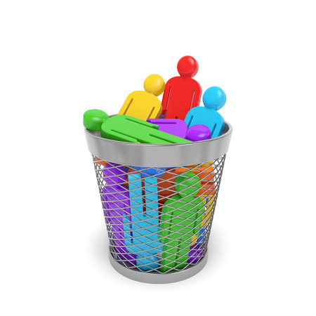 Society business social community policy concept. Colored people in the trash bin wastebasket as symbol of dismissal redundancy optimization discrimination disability killing persona non grata Stockfoto