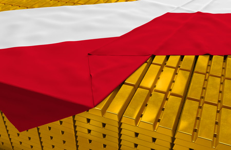 foreign national: Poland gold reserve stock: golden bars ingots are covered with polish flag in the storage treasury as symbol of national gold and foreign currency reserves, financial health, economic growth Stock Photo