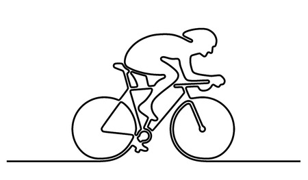 Bicycle rider silhouette icon logo sign. Abstract template design element for logo or illustrating bicycle racing event or advertising sport goods Imagens - 42146580