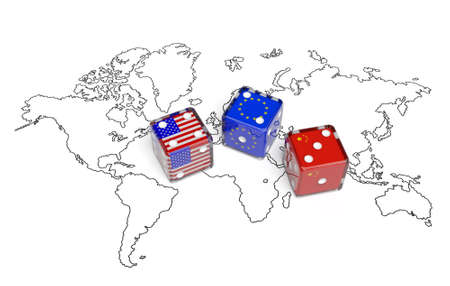 affairs: Negotiation political concept: dices with flags of USA, China and European Union on the world map symbolize foreign affairs, summit of countries, state interests, discussion on global issues Stock Photo