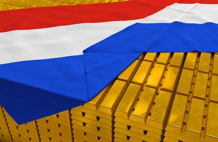 netherlandish: Netherlands gold reserve stock: golden bars are covered with netherlandish flag in the storage treasury as symbol of national gold and foreign currency reserves, financial health, economic growth Stock Photo
