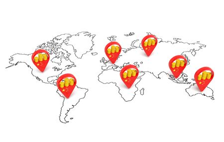 mapa de china: China, marcadores punteros con monedas de la pila de oro en el mapa mundial como s�mbolo de la estrategia de la pol�tica de inversi�n china y la inversi�n en el dominio econ�mico avanzado y banca financiera de los estados Foto de archivo