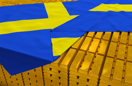 foreign national: Sweden gold reserve stock: golden bars ingots are covered with swedish flag in the storage treasury as symbol of national gold and foreign currency reserves, financial health, economic growth Stock Photo