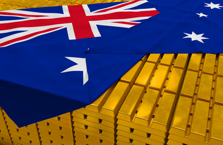 hoard: Australia gold reserve stock: golden bars are covered with australian flag in the storage treasury as symbol of national gold and foreign currency reserves, financial health, economic growth