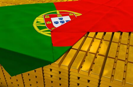treasury: Portugal gold reserve stock: golden bars are covered with portuguese flag in the storage treasury  Stock Photo