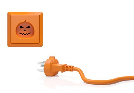 plug:   Electric connector plug adapter and power socket outlet in the form of orange pumpkin with distinctive design