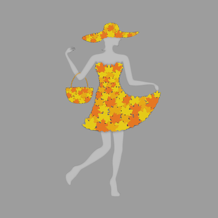 Silhouette of abstract lady in vibrant woman dress with hand bag and hat made of yellow and orange maple leaves as symbol of autumn fall sale season advertisement shopping business fashion concept