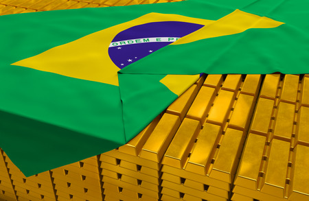 hoard: Brazil gold reserve stock: golden bars are covered with brazilian flag in the storage treasury as symbol of national gold and foreign currency reserves, financial health, economic growth