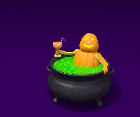 green lantern: Halloween pumpkin monster character Jack O Lantern in witch cauldron with magic green bubble potion and with wineglass of orange cocktail on violet background invitation to party creative concept