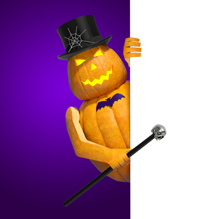 3d halloween: Halloween invitation blank template for text message. Halloween cartoon pumpkin character Jack O Lantern on violet background with white banner sign card invites to party or holiday celebration