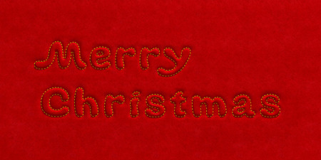 velure: Merry Christmas holiday background. Embossed extruded text inscription embroider in gold over the silk velvet plush, suede fabric surface as celebration greeting card or vibrant decoration template