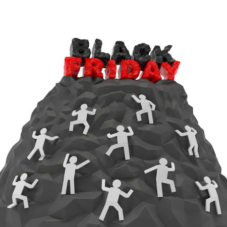 Black Friday shopping discount creative concept. Shoppers customers climb up a hill of mountain with words as symbol of agiotage, higher demand, panic buying