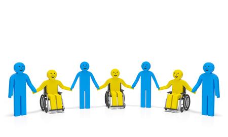 discapacidad: Mundial de la Discapacidad d�a d�a Internacional de las personas con discapacidad. Las personas con discapacidad en silla de ruedas con las personas sanas se dan la mano y sonr�en como s�mbolo de la asistencia social, la convivencia, derechos de los discapacitados