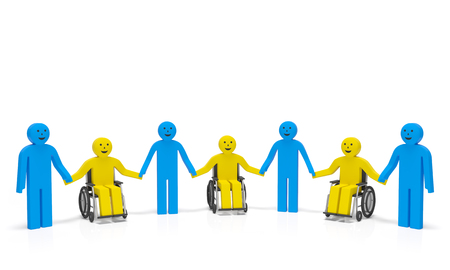 World Disability day International day of disabled people. Disabled persons in wheelchairs with healthy people hold hands and smile as symbol of social assistance, togetherness, disabled rights Stockfoto