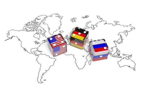 affairs: Negotiation political concept: dices with flags of USA, Germany and Russia on the world map symbolize foreign affairs, summit of countries, state interests, discussion on global issues