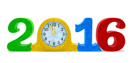 holiday symbol: 2016 New Year concept. Festive date number and table clock with colored sparkles as symbol of New Years eve and holiday midnight