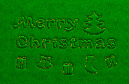velure: Merry Christmas holiday green background. Embossed extruded text inscription, tree, bell, gift boxes embroider in gold over the silk velvet suede fabric surface as vibrant celebration greeting card