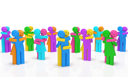 National Hugging day or Random Act of Kindness Day concept. Crowd of colored happy smiling embracing men and women as symbol of care, tenderness, sympathy, friendship, kindness, mercy, love, flashmob