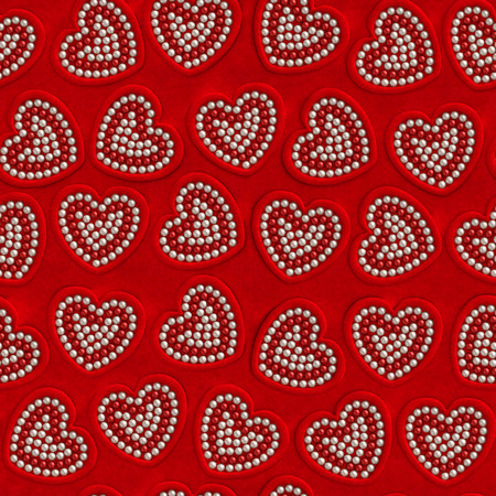 velure: Heart pearl Valentine day seamless background. Red velvet frames in the form of hearts with red and beige pearls on red velure surface as vintage, elegance, romantic, magnificent, jewelry decoration