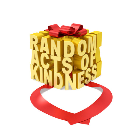 4 of a kind: Random acts of kindness day creative concept. Golden word in the form of gift box with open red ribbon as symbol of random giving donation of kindness, love, selfless assistance, altruistic motive