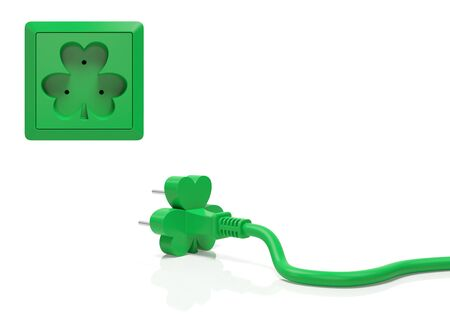 parade of homes: Saint Patrick day creative concept. Electric plug and power socket in the form of green clover shamrock as symbol of national irish holiday, luck and wealth, beginning of festive parade or party