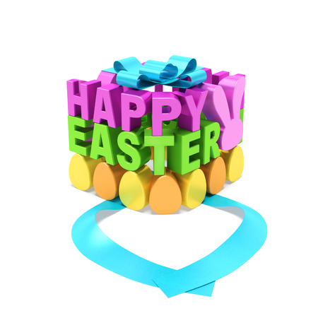 pink rabbit: Happy Easter creative spring text concept. Magenta and green words, yellow and orange eggs, pink rabbit in the form of gift box with open blue ribbon as metaphor of Easter day and festive symbols
