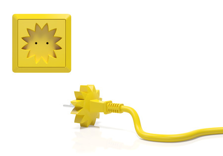 summery: Summer season creative concept. Electric plug and power socket as yellow sun as the summer travel season, summertime sale shopping, solar energy, summery weather, decoration element for calendar Stock Photo