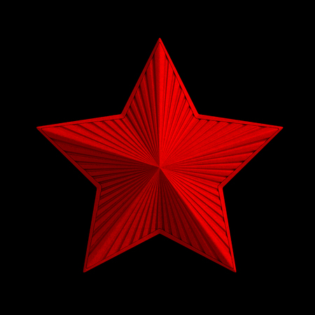 star icon: Red star (3d icon sign). Red metal classic radiate star with bright sparkles as symbol of Victory day (9 May) or Christmas holiday or design decoration element isolated on black background