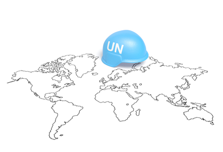nations: International Day of United Nations Peacekeepers or United Nations Day. Blue helmet with UN sign on the world map as symbol of United Nations Peacekeepers and peacekeeping force Stock Photo