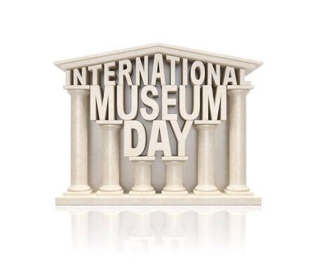 showpiece: International museum day (creative info awareness concept).Text words as stone marble museum building in ancient classic style with columns as symbol of world museum day or cultural event