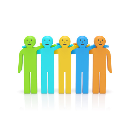 buddies: Friendship day. Hugging smiling happy colored people as symbol of Friendship day, friends for life, best buddies, brotherhood, solidarity or business team, networking, partnership